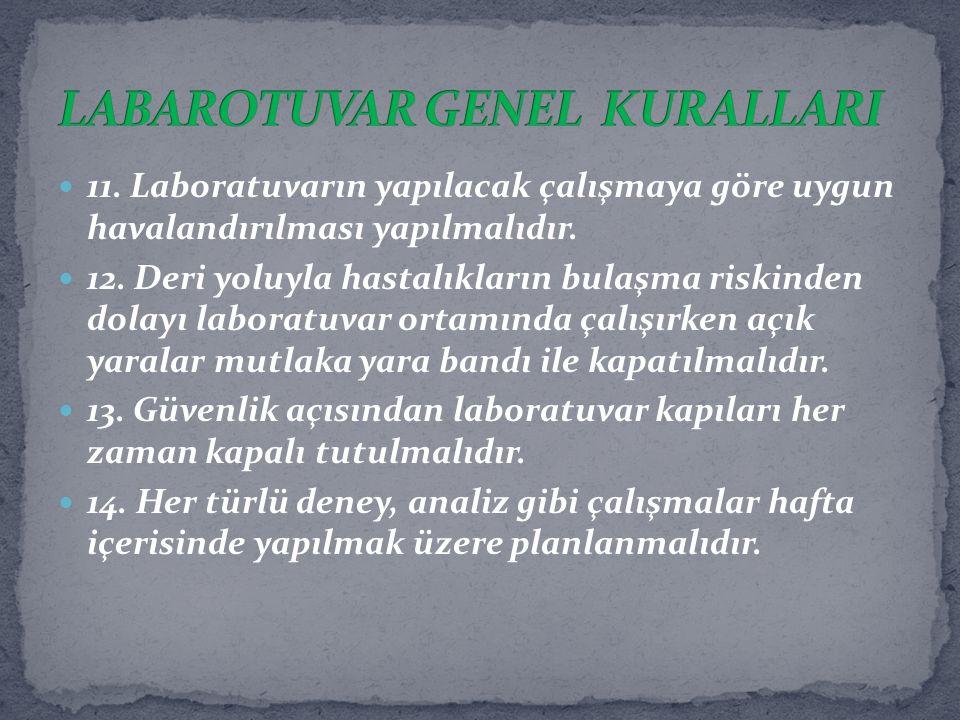 LABAROTUVAR GENEL KURALLARI