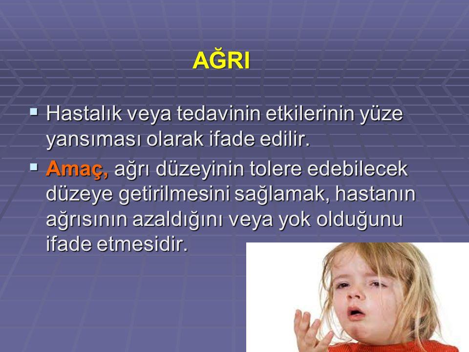 AĞRI Hastalık veya tedavinin etkilerinin yüze yansıması olarak ifade edilir.