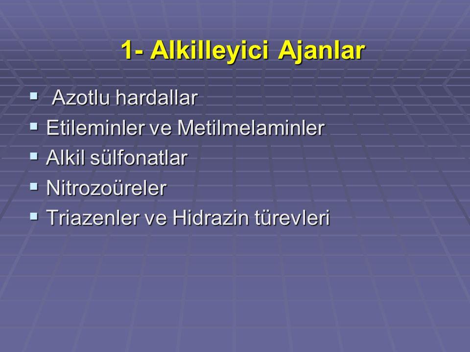 1- Alkilleyici Ajanlar Azotlu hardallar Etileminler ve Metilmelaminler