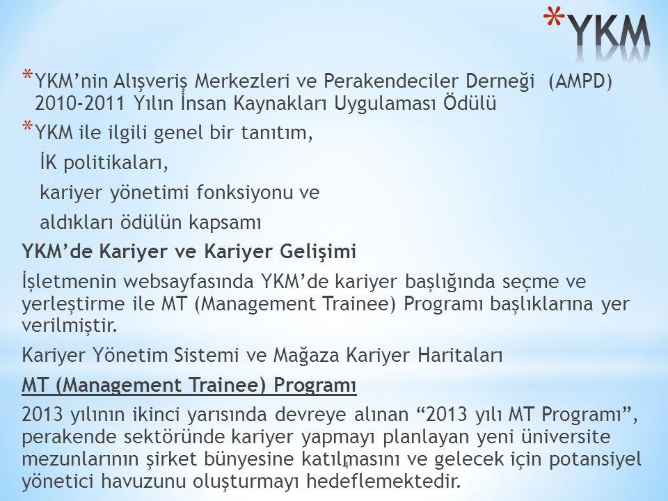 YKM YKM'nin Alışveriş Merkezleri ve Perakendeciler Derneği (AMPD) 2010-2011 Yılın İnsan Kaynakları Uygulaması Ödülü