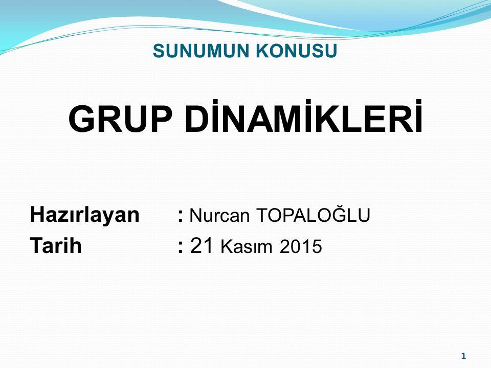 GRUP DİNAMİKLERİ Hazırlayan : Nurcan TOPALOĞLU Tarih : 21 Kasım 2015