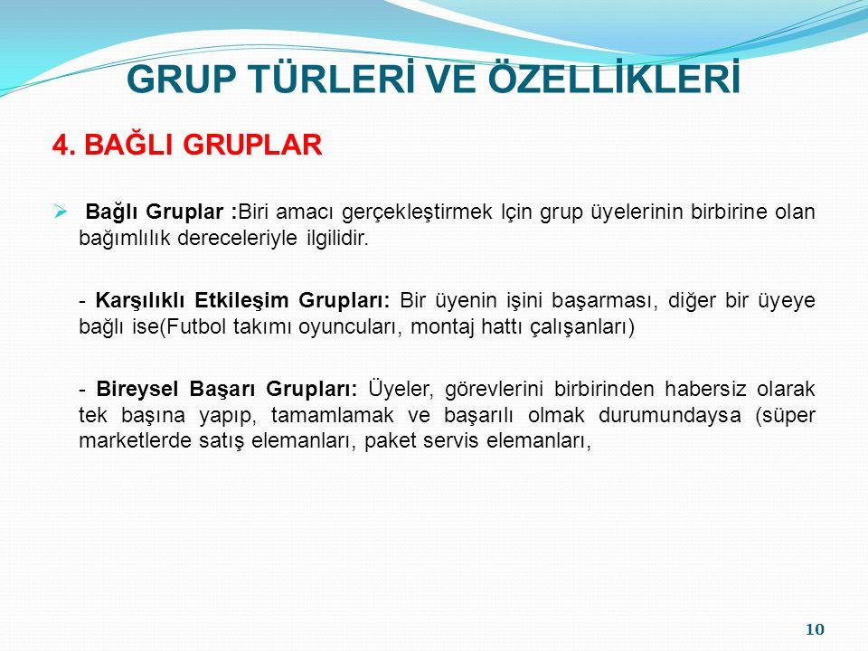 GRUP TÜRLERİ VE ÖZELLİKLERİ