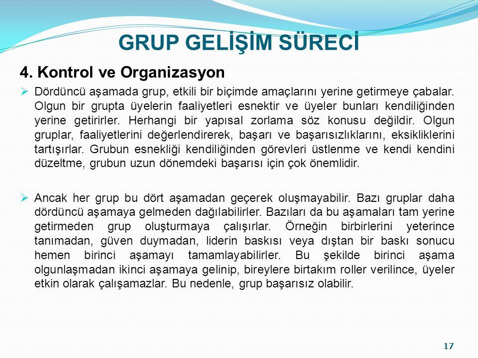 GRUP GELİŞİM SÜRECİ 4. Kontrol ve Organizasyon