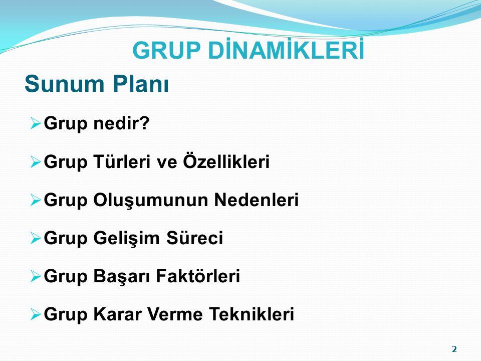 GRUP DİNAMİKLERİ Sunum Planı Grup nedir Grup Türleri ve Özellikleri