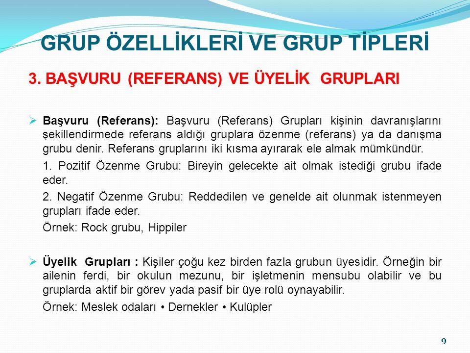 GRUP ÖZELLİKLERİ VE GRUP TİPLERİ