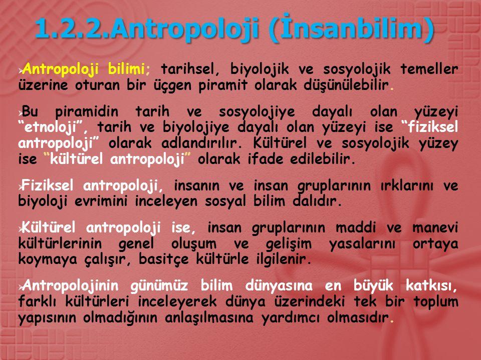 1.2.2.Antropoloji (İnsanbilim)