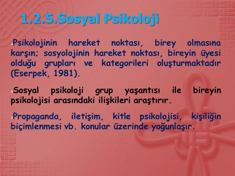 1.2.5.Sosyal Psikoloji