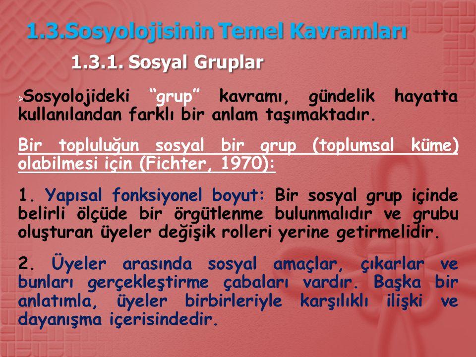 1.3.Sosyolojisinin Temel Kavramları 1.3.1. Sosyal Gruplar