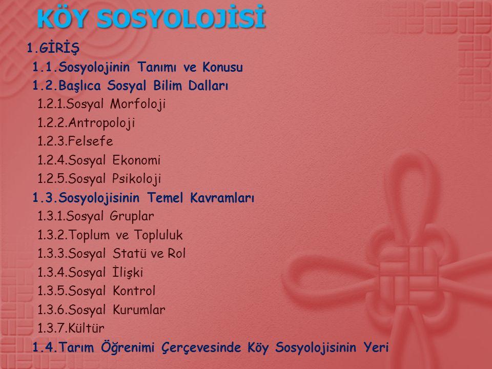KÖY SOSYOLOJİSİ 1.GİRİŞ 1.1.Sosyolojinin Tanımı ve Konusu