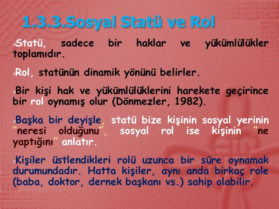 1.3.3.Sosyal Statü ve Rol Statü, sadece bir haklar ve yükümlülükler toplamıdır. Rol, statünün dinamik yönünü belirler.