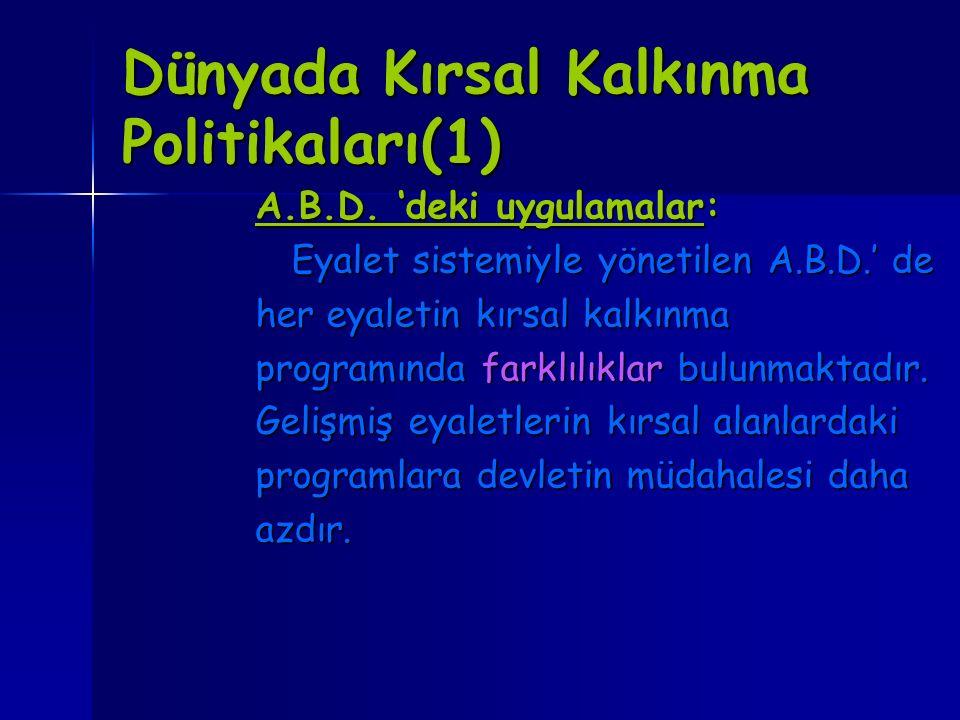 Dünyada Kırsal Kalkınma Politikaları(1)