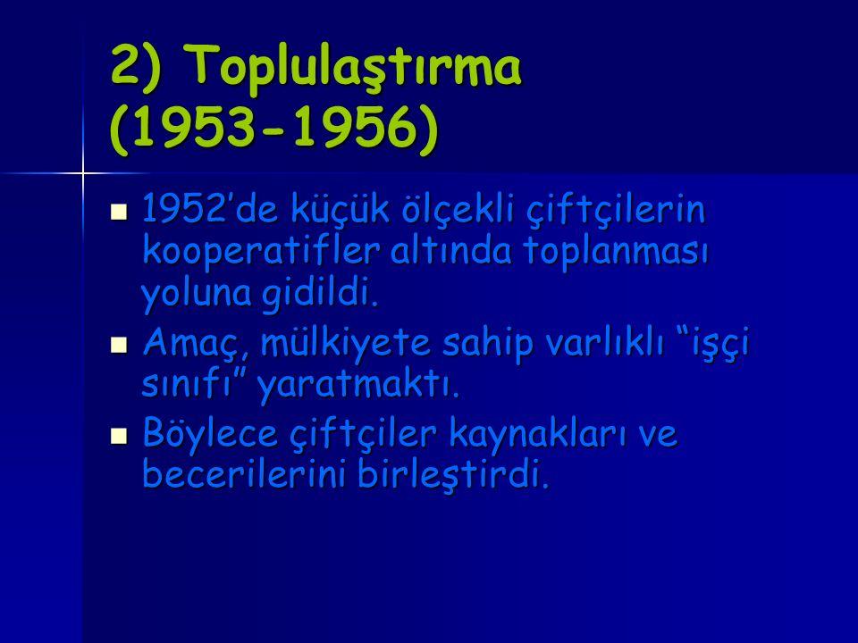 2) Toplulaştırma (1953-1956) 1952'de küçük ölçekli çiftçilerin kooperatifler altında toplanması yoluna gidildi.