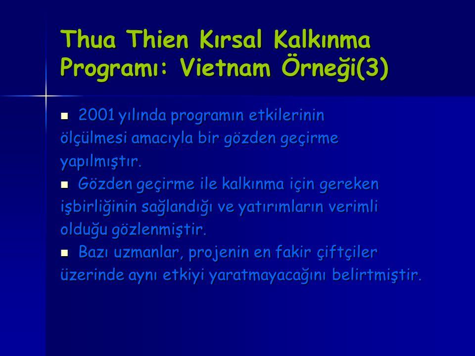 Thua Thien Kırsal Kalkınma Programı: Vietnam Örneği(3)