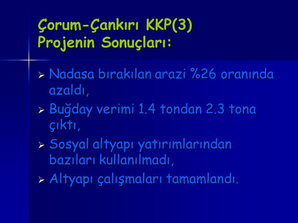 Çorum-Çankırı KKP(3) Projenin Sonuçları: