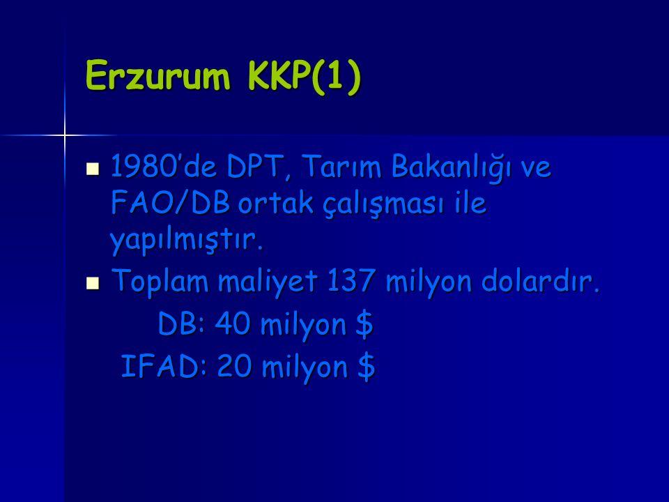 Erzurum KKP(1) 1980'de DPT, Tarım Bakanlığı ve FAO/DB ortak çalışması ile yapılmıştır. Toplam maliyet 137 milyon dolardır.