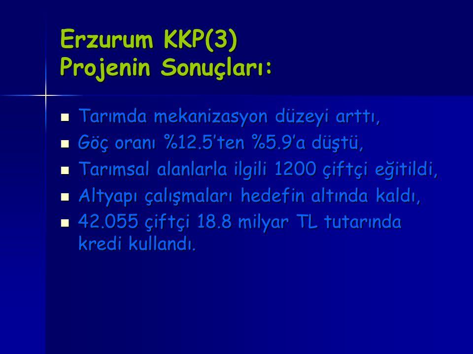 Erzurum KKP(3) Projenin Sonuçları: