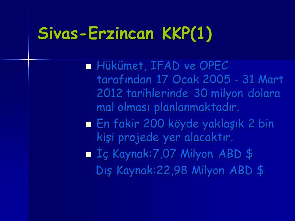 Sivas-Erzincan KKP(1) Hükümet, IFAD ve OPEC tarafından 17 Ocak 2005 - 31 Mart 2012 tarihlerinde 30 milyon dolara mal olması planlanmaktadır.