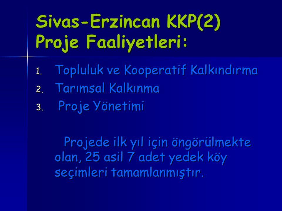 Sivas-Erzincan KKP(2) Proje Faaliyetleri: