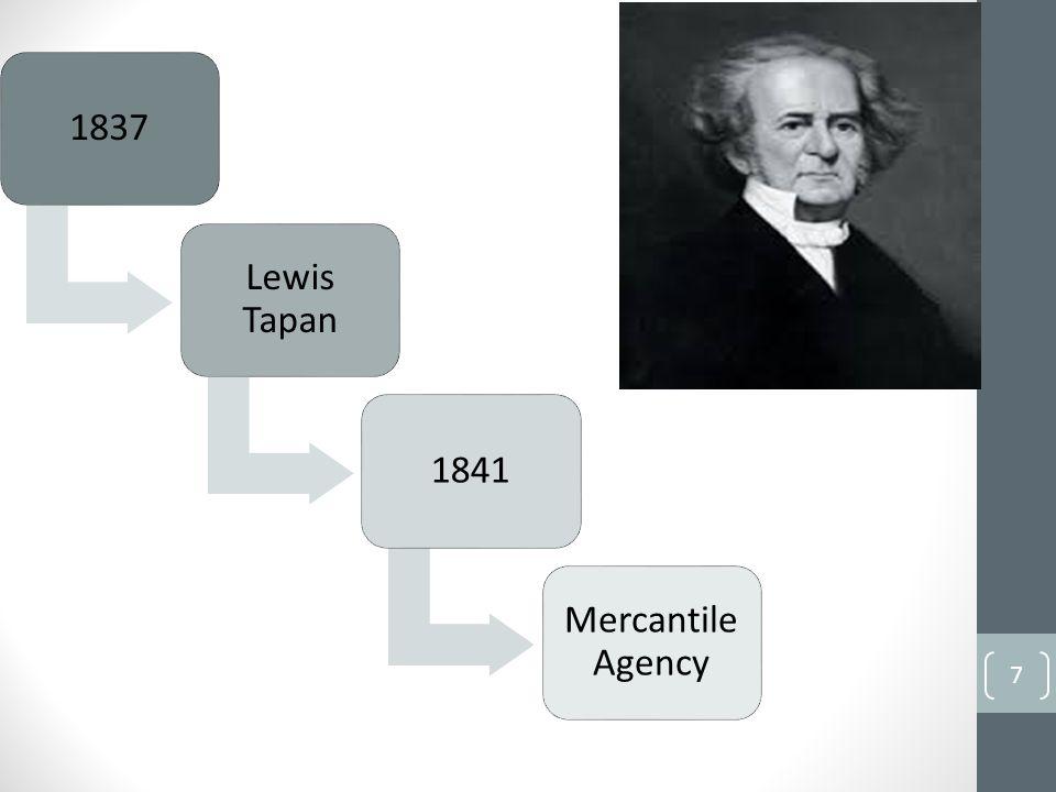 1837 Lewis Tapan 1841 Mercantile Agency