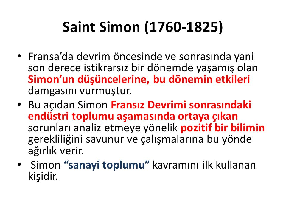 Saint Simon (1760-1825)