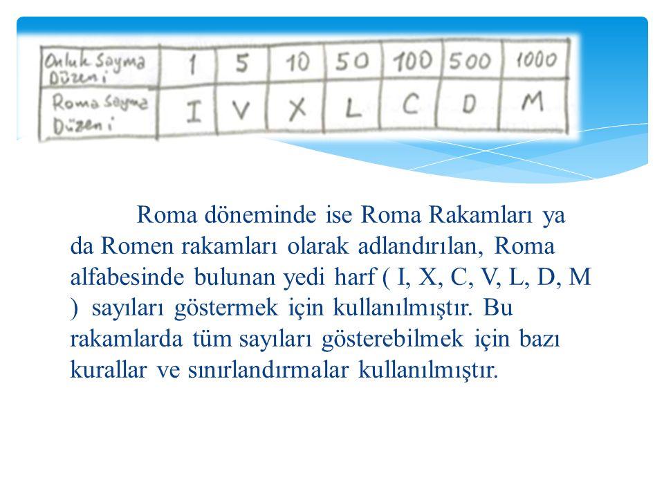 Roma döneminde ise Roma Rakamları ya da Romen rakamları olarak adlandırılan, Roma alfabesinde bulunan yedi harf ( I, X, C, V, L, D, M ) sayıları göstermek için kullanılmıştır.