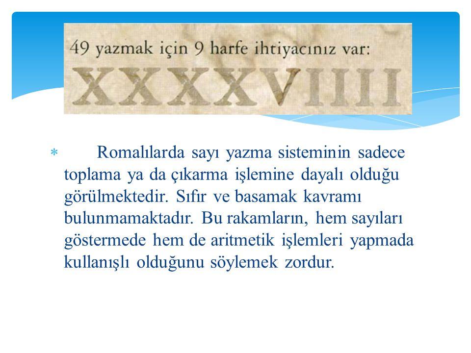 Romalılarda sayı yazma sisteminin sadece toplama ya da çıkarma işlemine dayalı olduğu görülmektedir.