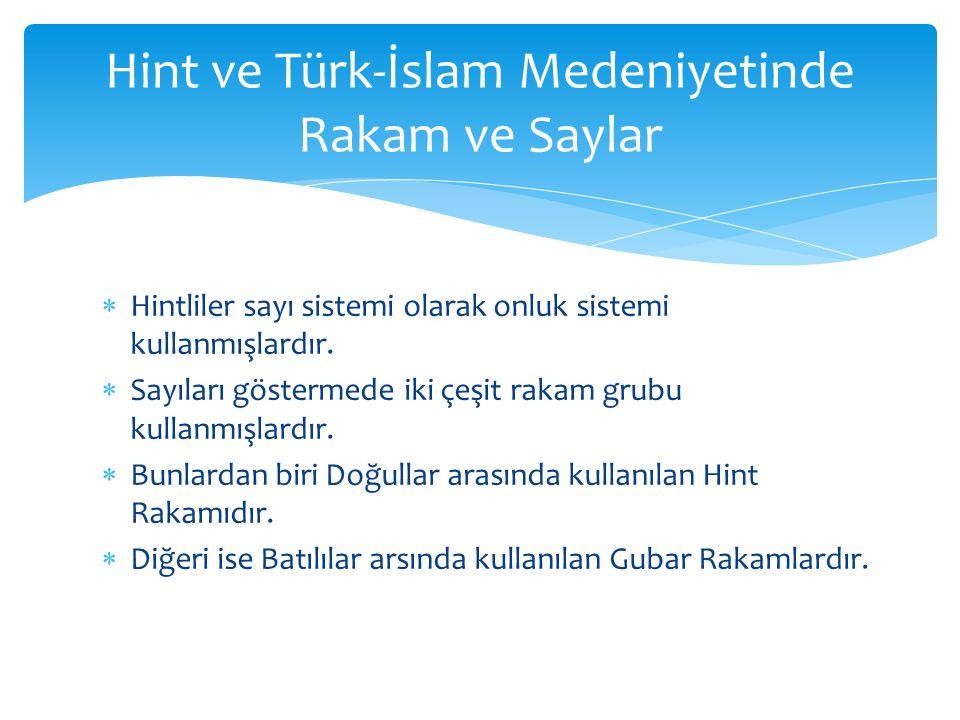 Hint ve Türk-İslam Medeniyetinde Rakam ve Saylar