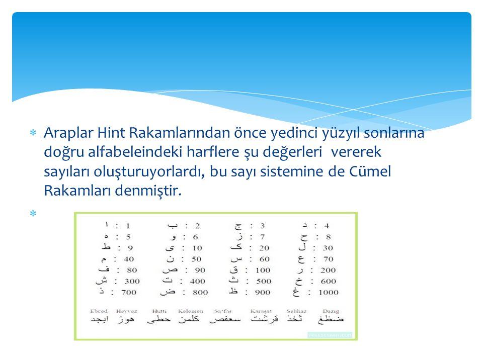 Araplar Hint Rakamlarından önce yedinci yüzyıl sonlarına doğru alfabeleindeki harflere şu değerleri vererek sayıları oluşturuyorlardı, bu sayı sistemine de Cümel Rakamları denmiştir.
