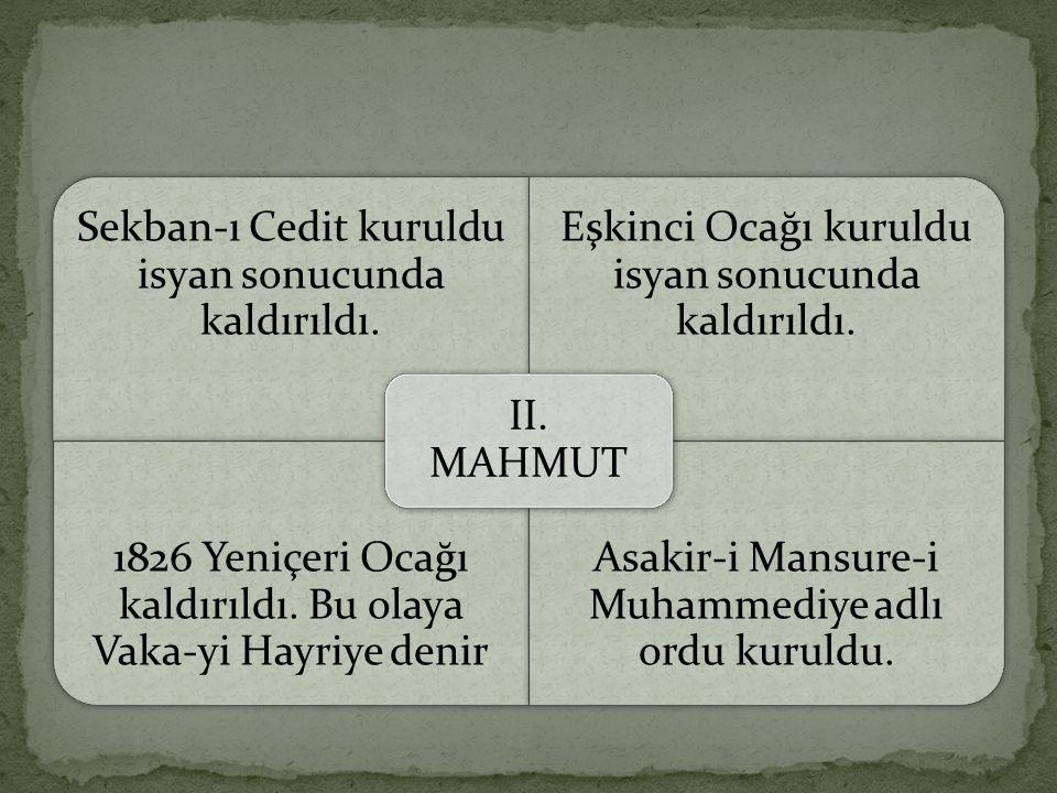 Sekban-ı Cedit kuruldu isyan sonucunda kaldırıldı.
