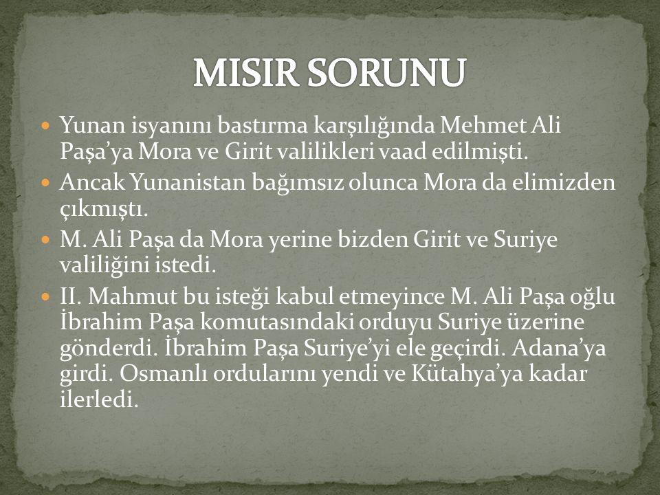 MISIR SORUNU Yunan isyanını bastırma karşılığında Mehmet Ali Paşa'ya Mora ve Girit valilikleri vaad edilmişti.
