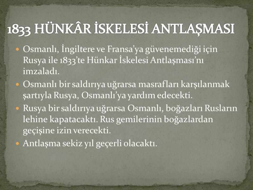 1833 HÜNKÂR İSKELESİ ANTLAŞMASI