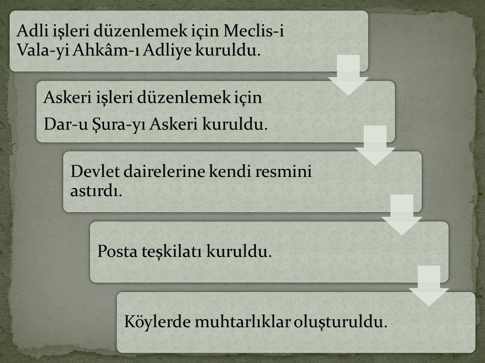 Adli işleri düzenlemek için Meclis-i Vala-yi Ahkâm-ı Adliye kuruldu.