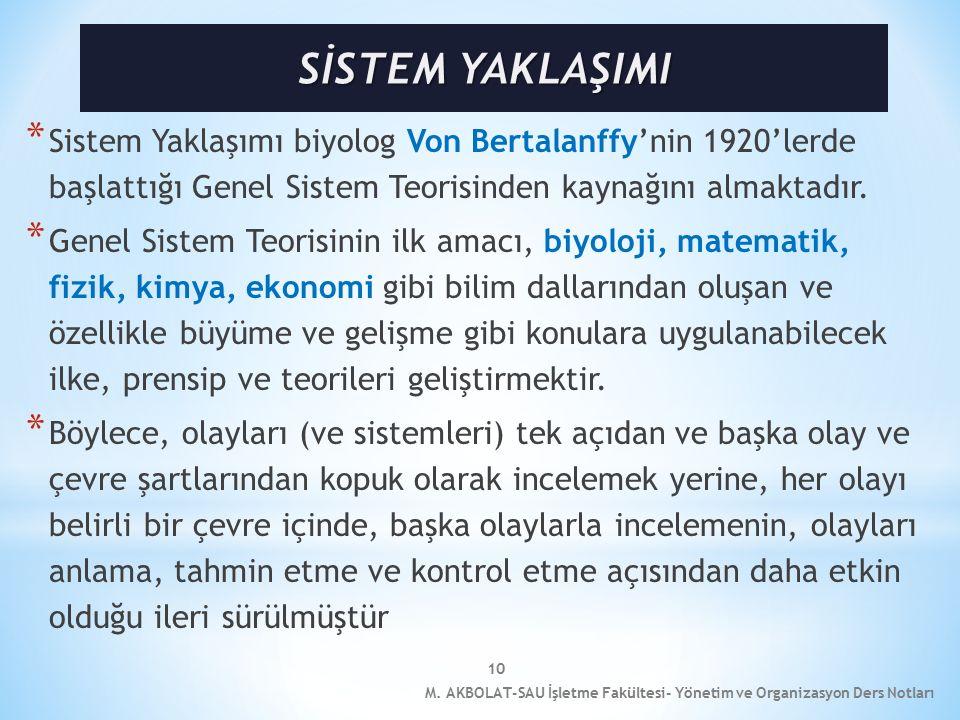 SİSTEM YAKLAŞIMI Sistem Yaklaşımı biyolog Von Bertalanffy'nin 1920'lerde başlattığı Genel Sistem Teorisinden kaynağını almaktadır.