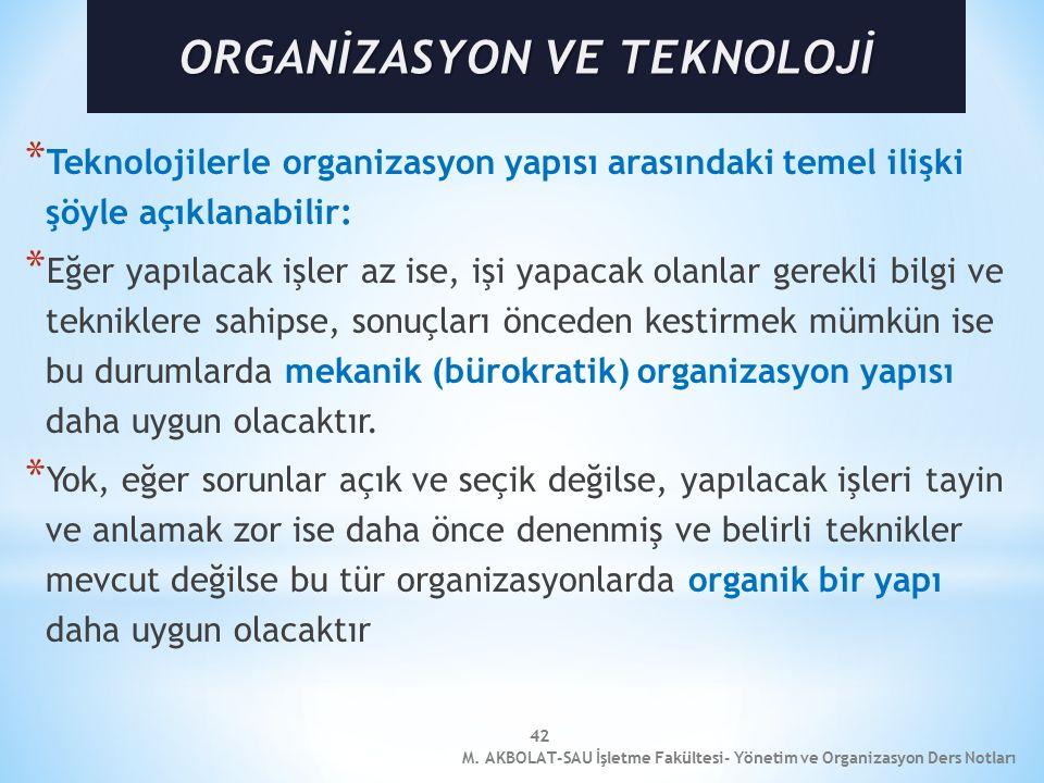 ORGANİZASYON VE TEKNOLOJİ