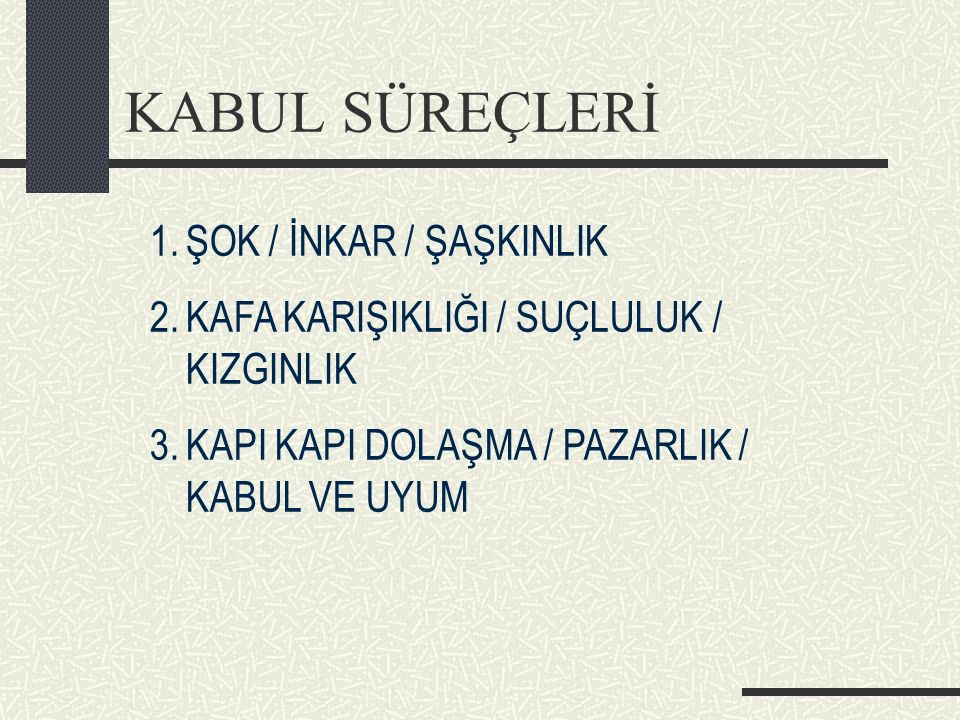 KABUL SÜREÇLERİ ŞOK / İNKAR / ŞAŞKINLIK