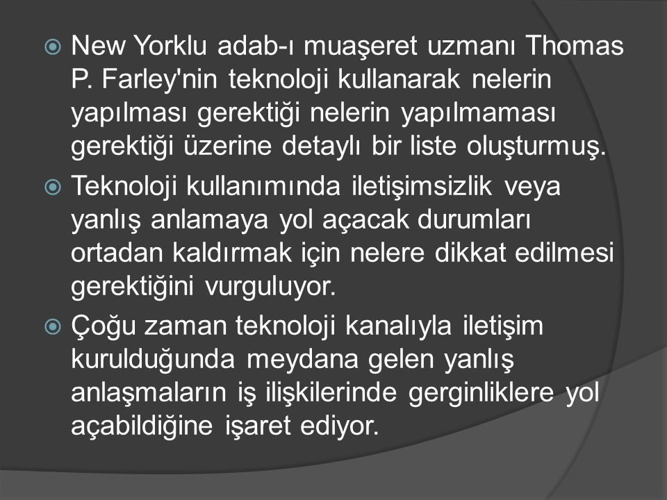New Yorklu adab-ı muaşeret uzmanı Thomas P