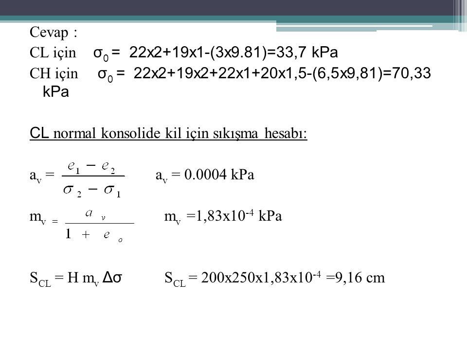Cevap : CL için σ0 = 22x2+19x1-(3x9