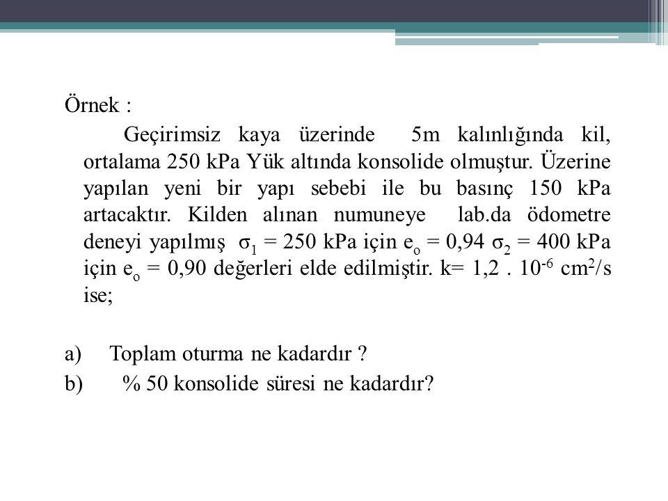 Örnek : Geçirimsiz kaya üzerinde 5m kalınlığında kil, ortalama 250 kPa Yük altında konsolide olmuştur.