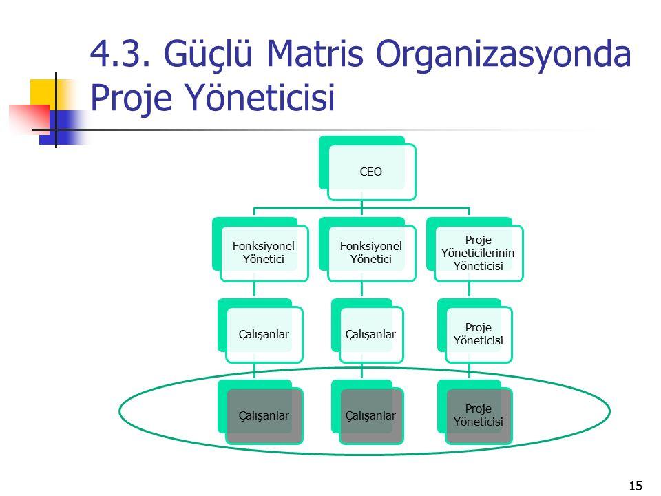 4.3. Güçlü Matris Organizasyonda Proje Yöneticisi