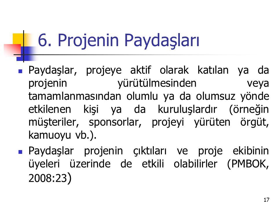 6. Projenin Paydaşları