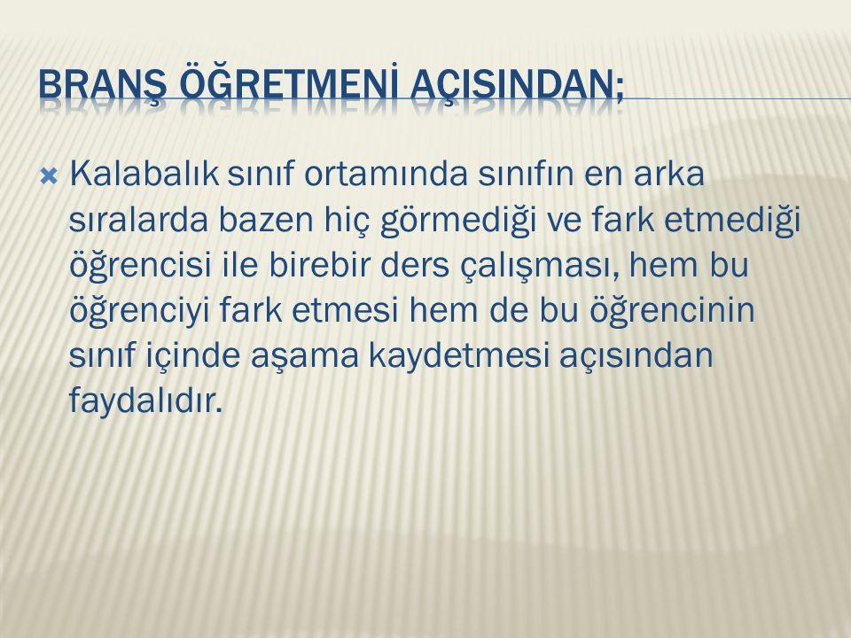 BRANŞ ÖĞRETMENİ AÇISINDAN;