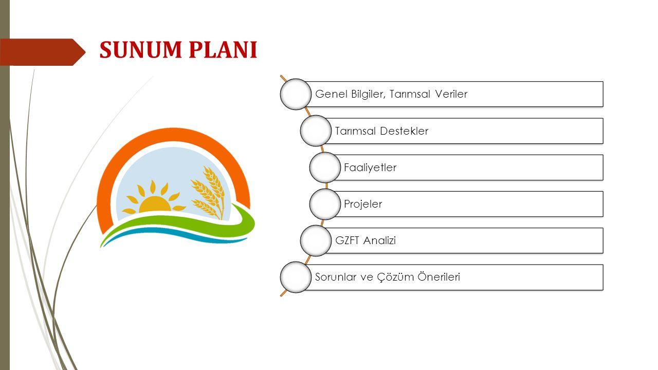 SUNUM PLANI Genel Bilgiler, Tarımsal Veriler Tarımsal Destekler