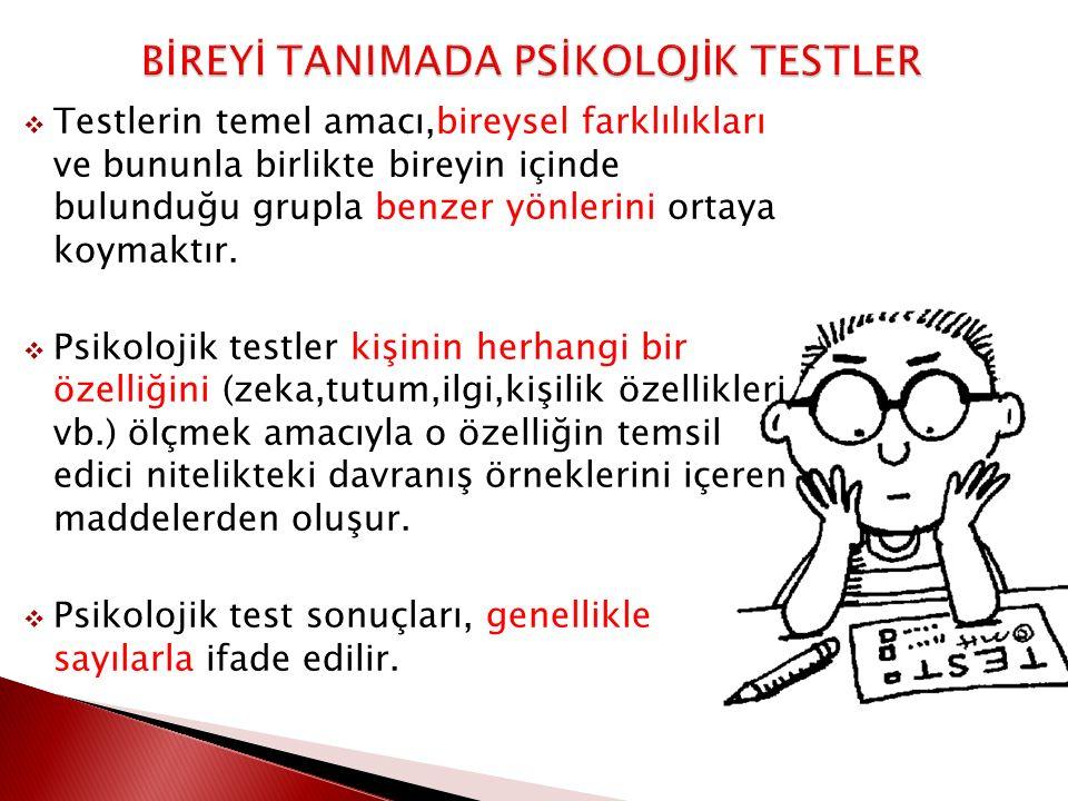 BİREYİ TANIMADA PSİKOLOJİK TESTLER