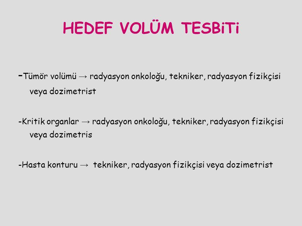 HEDEF VOLÜM TESBiTi -Tümör volümü → radyasyon onkoloğu, tekniker, radyasyon fizikçisi veya dozimetrist.