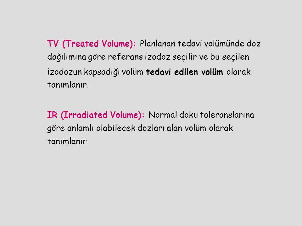 TV (Treated Volume): Planlanan tedavi volümünde doz dağılımına göre referans izodoz seçilir ve bu seçilen