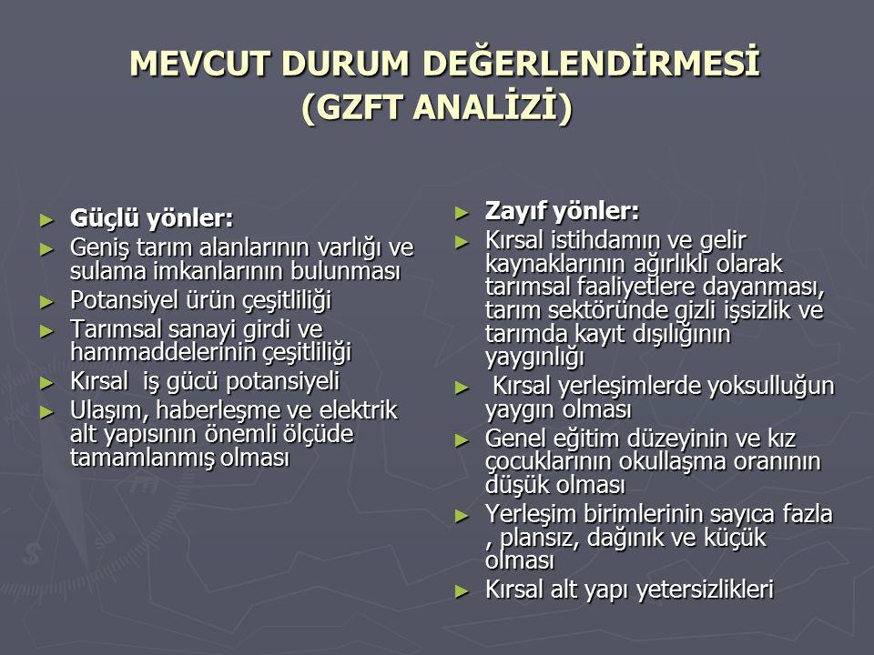 MEVCUT DURUM DEĞERLENDİRMESİ (GZFT ANALİZİ)
