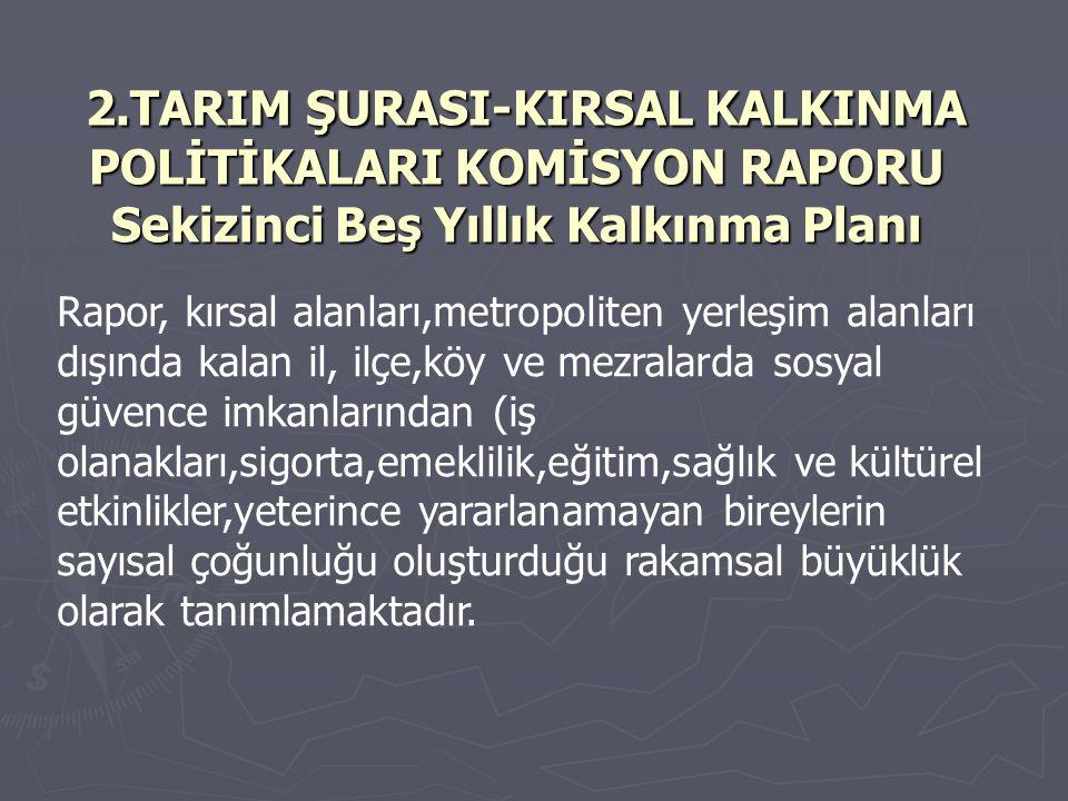 2.TARIM ŞURASI-KIRSAL KALKINMA POLİTİKALARI KOMİSYON RAPORU Sekizinci Beş Yıllık Kalkınma Planı