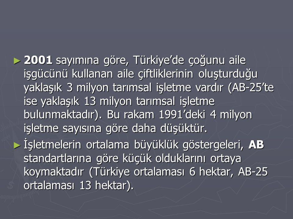 2001 sayımına göre, Türkiye'de çoğunu aile işgücünü kullanan aile çiftliklerinin oluşturduğu yaklaşık 3 milyon tarımsal işletme vardır (AB-25'te ise yaklaşık 13 milyon tarımsal işletme bulunmaktadır). Bu rakam 1991'deki 4 milyon işletme sayısına göre daha düşüktür.