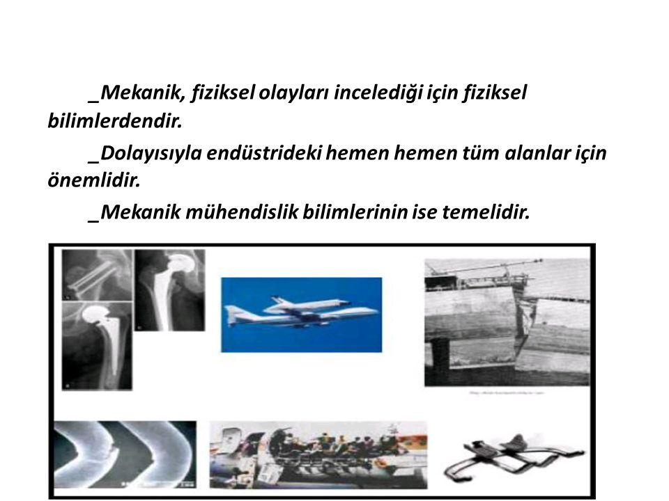 _Mekanik, fiziksel olayları incelediği için fiziksel bilimlerdendir.