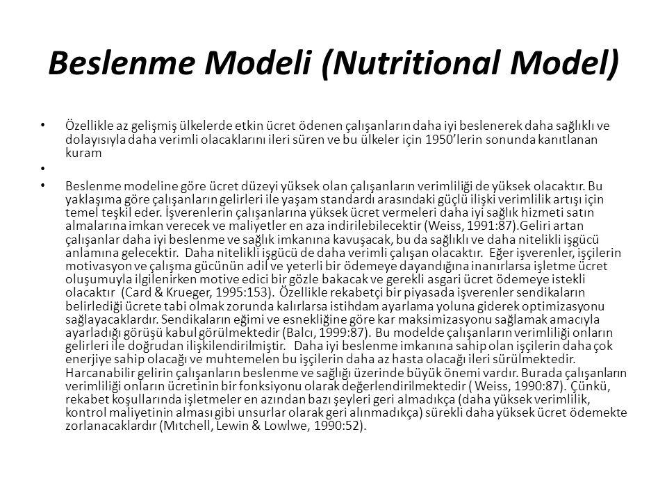 Beslenme Modeli (Nutritional Model)